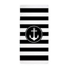 Black And White Nautical Anchor Stripe Beach Towel