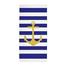 Yellow Anchor Blue Stripe Beach Towel