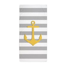 Yellow Nautical Anchor Grey Stripes Beach Towel