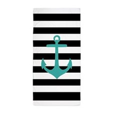 Aqua Nautical Anchor Black Stripes Beach Towel