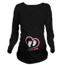 Zipper Long Sleeve Maternity T-Shirt