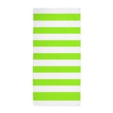 Lime Green And White Stripe Beach Towel