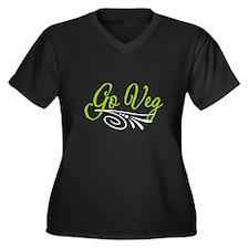 Go Veg Women's Black Plus Size V-Neck