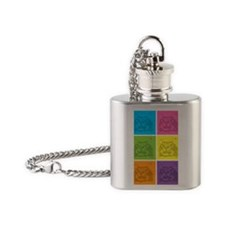 Kitty Squares Flask Necklace