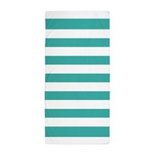 Turquoise And White Stripe Beach Towel