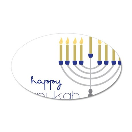 Happy Chanukah 35x21 Oval Wall Decal