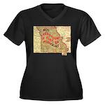 Flat Missouri Women's Plus Size V-Neck Dark T-Shir
