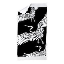 Black And White Crane Bird Beach Towel