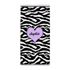 Purple Personalized Zebra Beach Towel
