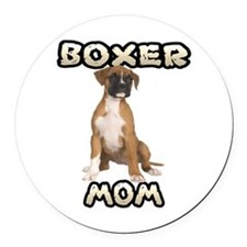 Boxer Mom Round Car Magnet