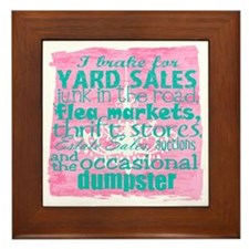 junker shirt pinkwith blue Framed Tile