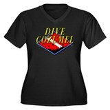 Dive Cozumel Women's Plus Size V-Neck Dark T-Shirt