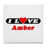 I Love Amber Tile Coaster