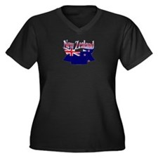 New Zealand flag ribbon Women's Plus Size V-Neck D