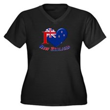 I love New Zealand Women's Plus Size V-Neck Dark T