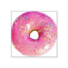 """pink frosted donut Square Sticker 3"""" x 3"""""""