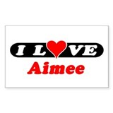 I Love Aimee Rectangle Stickers