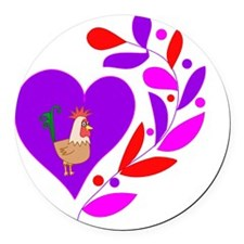 Rooster Heart Round Car Magnet