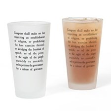 First Amendment Freedom of Speech Drinking Glass