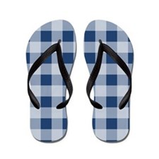 City Blue Gingham pattern Flip Flops