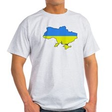 Flag Of Ukraine Map Outline T-Shirt