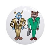 Cartoon Bull Bear Brokers Ornament (Round)
