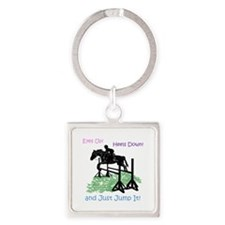 Fun Hunter/Jumper Equestrian Horse Square Keychain