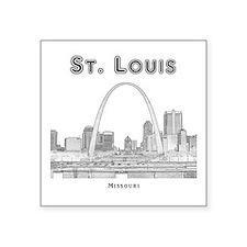 """StLouis_10x10_Downtown_Blac Square Sticker 3"""" x 3"""""""