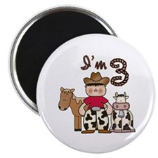 "Cowboy 3rd Birthday 2.25"" Magnet (10 pack)"