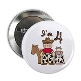 "Cowboy 4th Birthday 2.25"" Button (100 pack)"