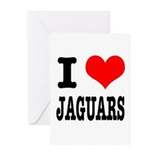 I Heart (Love) Jaguars Greeting Cards (Package of