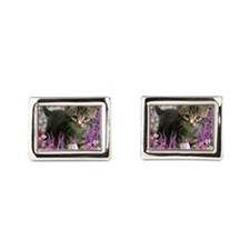Emma Tabby Kitten in Flowers I Cufflinks
