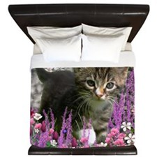 Emma Tabby Kitten in Flowers I King Duvet