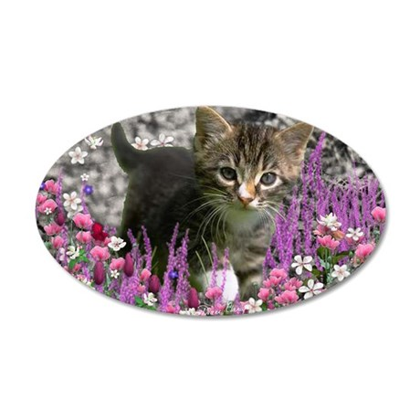 Emma Tabby Kitten in Flowers 35x21 Oval Wall Decal