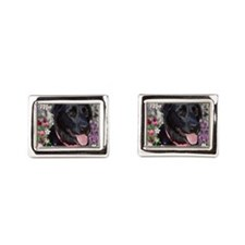 Abby the Black Lab in Flowers Cufflinks