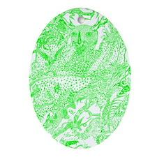 Green Dragon Meeting Oval Ornament