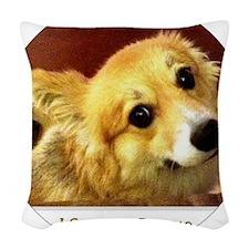 I Support Rescue Corgi Woven Throw Pillow