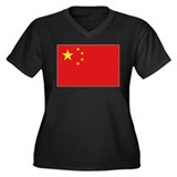 China National flag Women's Plus Size V-Neck Dark