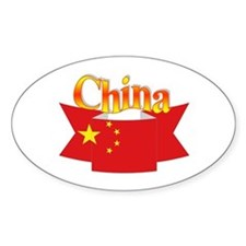 China flag ribbon Oval Decal