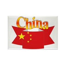 China flag ribbon Rectangle Magnet