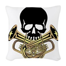 Skull with Tuba Crossbones Woven Throw Pillow