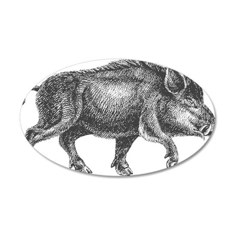 Wild Boar 35x21 Oval Wall Decal