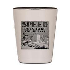 1930s Motoring Safety Poster Shot Glass