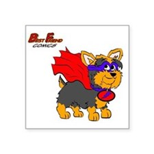 "Yorkie Super Hero Square Sticker 3"" x 3"""
