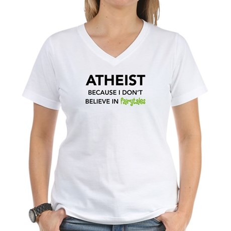Atheist vs. Fairytales Women's V-Neck T-Shirt
