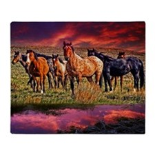 Sunset Horses Throw Blanket