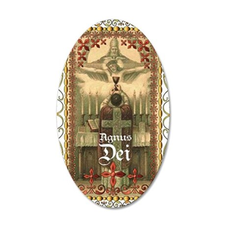Agnus Dei Blood in the Chali 35x21 Oval Wall Decal