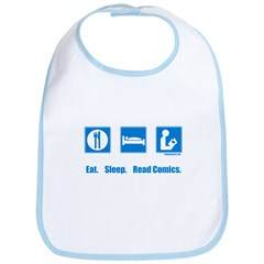 Eat. Sleep. Read comics Bib