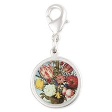 Bouquet of Flowers Silver Round Charm