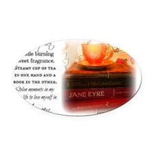 Quiet, Tea, and Books Oval Car Magnet